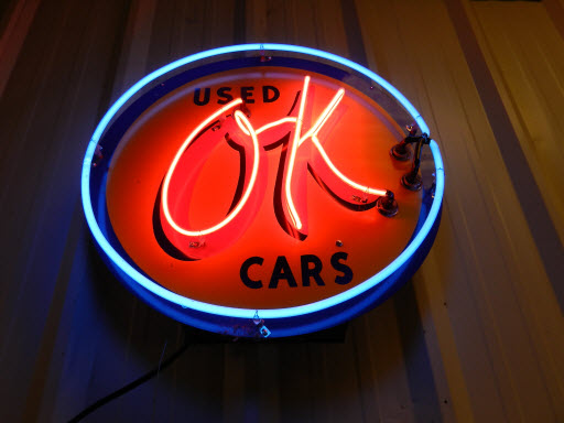 OK Used Cars Flourescent Light and Sign